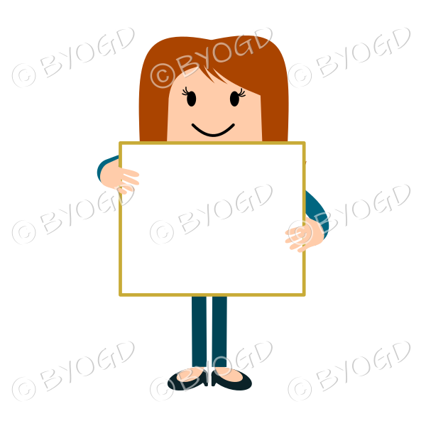 Girl cartoon with blank sign in blue
