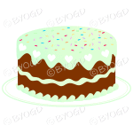 Green birthday or celebration cake