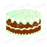 Green birthday or celebration cake