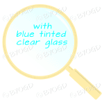 Yellow magnifying glass with blue tinted clear glass