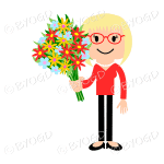 Blonde girl with flowers in red
