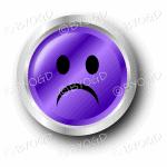 Purple sad smiley face button