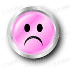 Pink sad smiley face button
