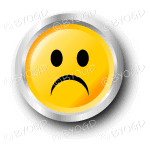 Yellow sad smiley face button