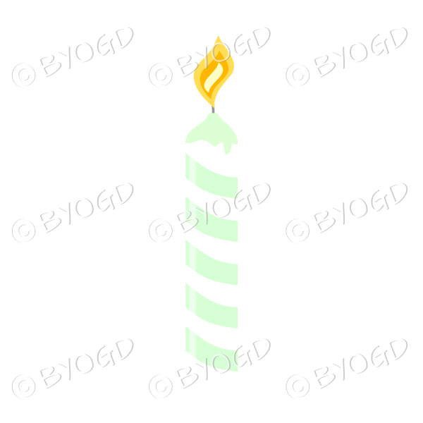 Green and white Birthday cake candle