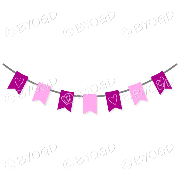 Pink and Dark Pink Bunting Flags