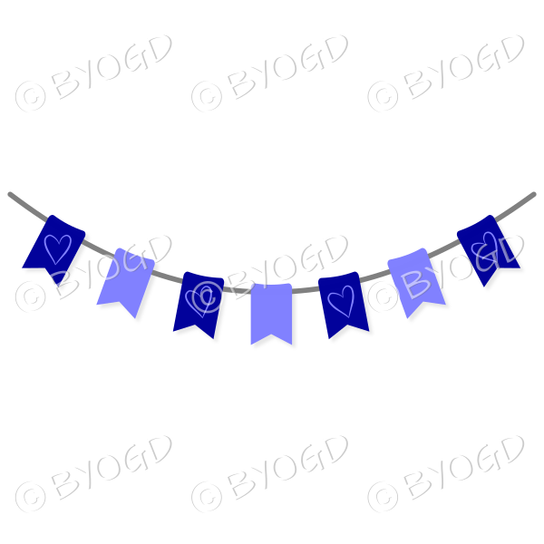 Mid and Dark Blue Bunting Flags