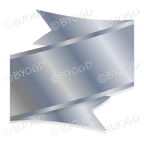 Wide Metallic Silver Ribbon Banner