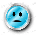 A blue flat face smiley button.