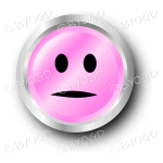 A pink flat face smiley button.