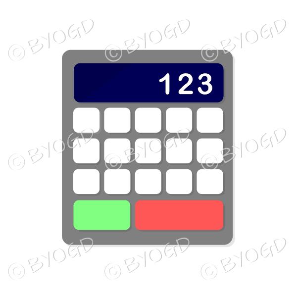 Desk calculator with dark blue display bar