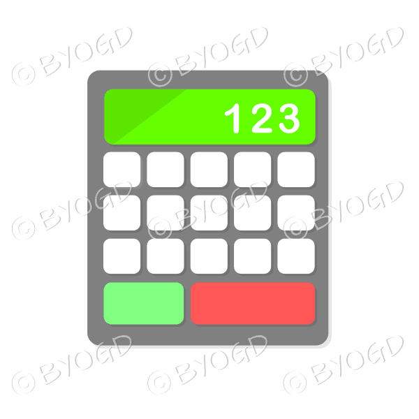 Desk calculator with green display bar