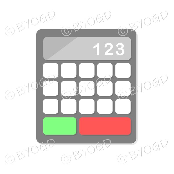 Desk calculator with grey display bar
