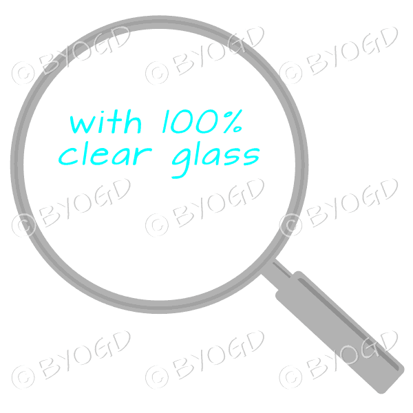 Grey magnifying glass with clear glass