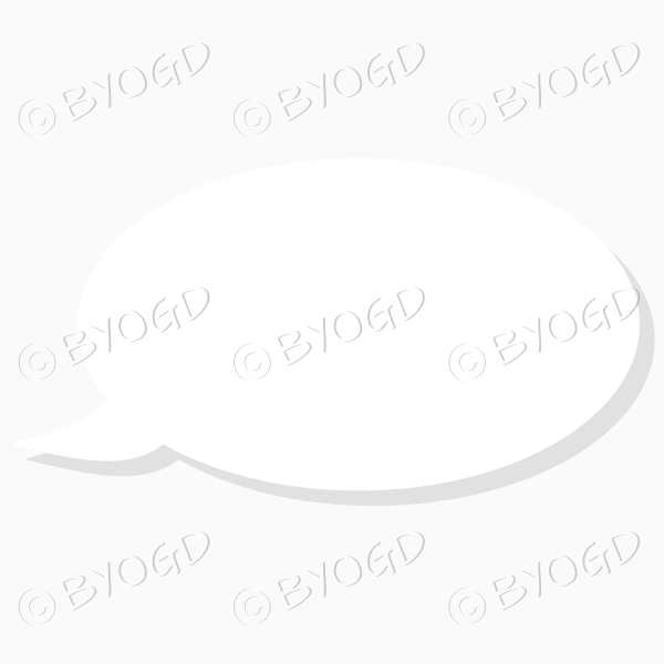 White oblong speech bubble with grey transparent drop shadow
