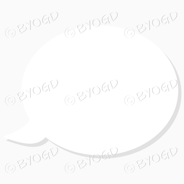 White round speech bubble with grey transparent drop shadow