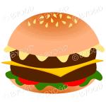 Juicy double cheeseburger in a bun