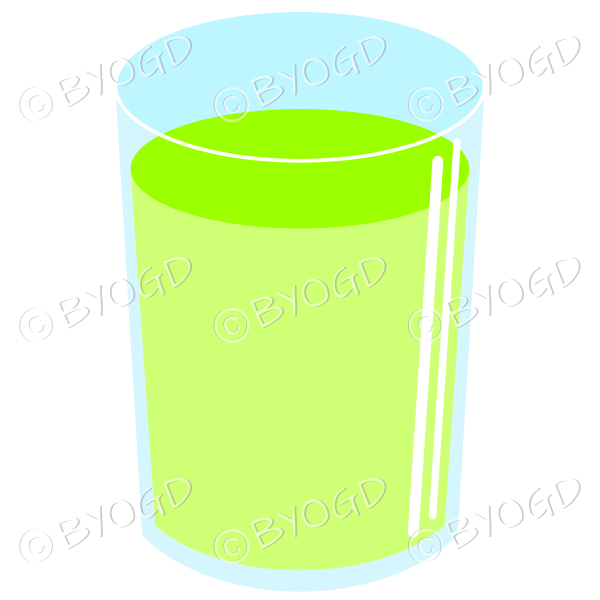 Refreshing green cold drink. Could be juice or soda