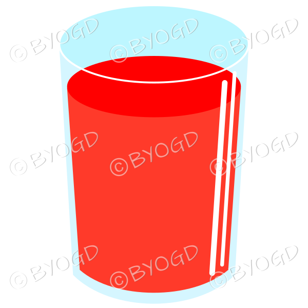 Refreshing red cold drink. Could be juice or soda.