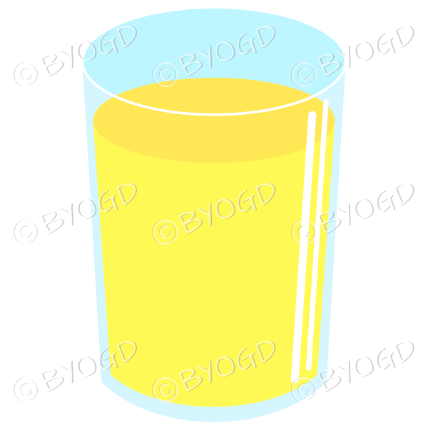 Refreshing yellow cold drink. Could be juice or soda.