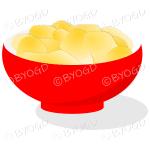 A red bowl full of crisp golden chips