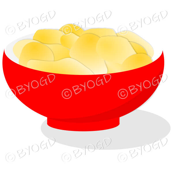 A red bowl full of crisp golden chips