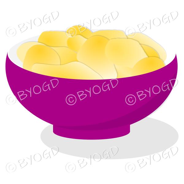 A purple bowl full of crisp golden chips