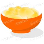 An orange bowl full of crisp golden chips