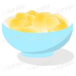 A light blue bowl full of crisp golden chips