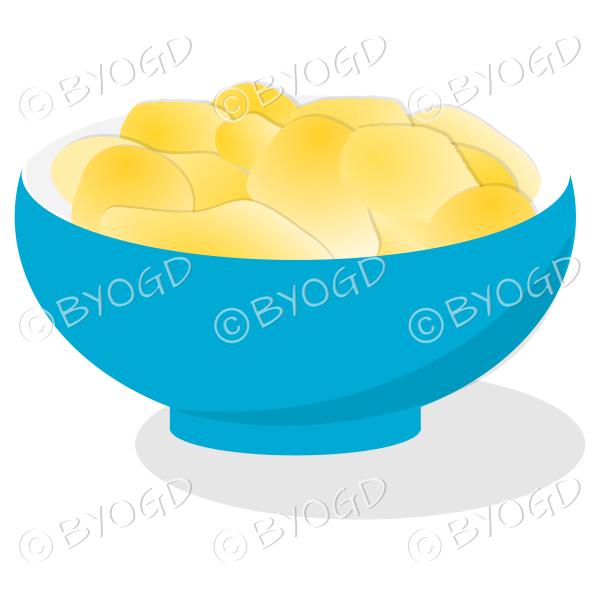 A blue bowl full of crisp golden chips