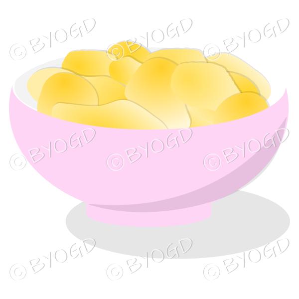 A pink bowl full of crisp golden chips