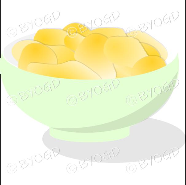 A pale green bowl full of crisp golden chips