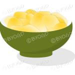 A green bowl full of crisp golden chips