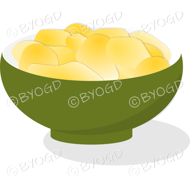 A green bowl full of crisp golden chips