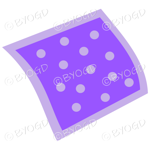 A purple napkin or pillow with polka dots