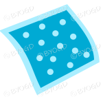 A blue napkin or pillow with polka dots