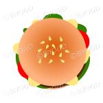 Juicy burger in a bun - top view