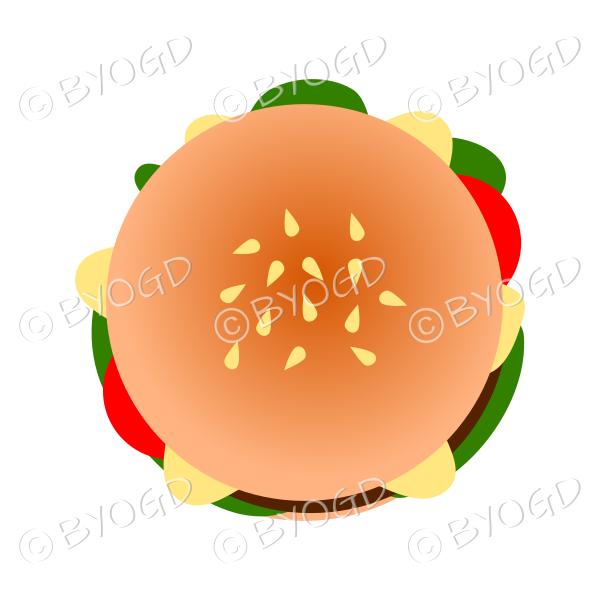 Juicy burger in a bun – top view