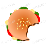 Juicy burger in a bun with bites out of it - top view
