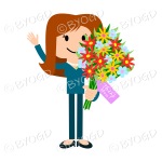 Girl with long red hair, waving and holding a bunch of flowers