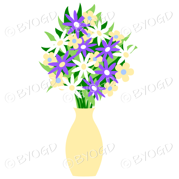 Yellow vase with purple, white and yellow flowers
