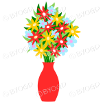 Red vase with red, blue and yellow flowers