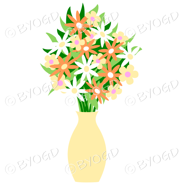 Pale yellow vase with yellow, white and orange flowers