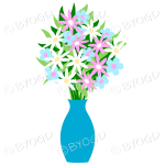 Blue vase with pink, white and blue flowers
