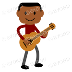 Young man with dark skin and red t-shirt playing a guitar