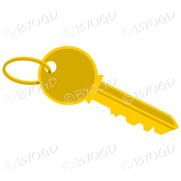 Gold door key on ring