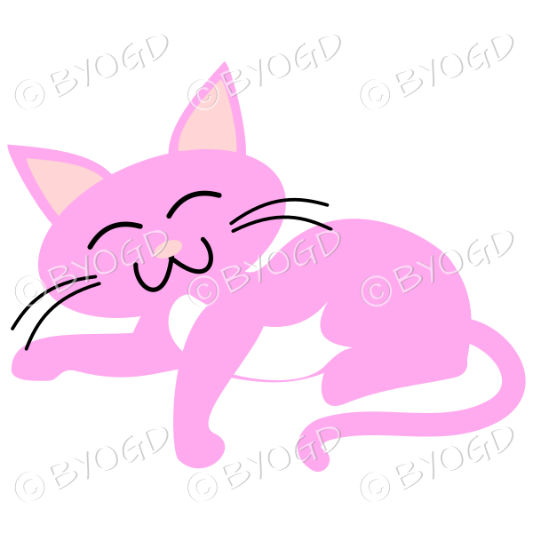 Pink cat relaxing