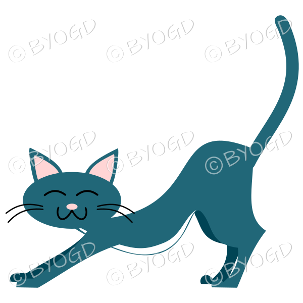 Light Blue cat stretching