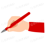 Hand writing with a shiny red pen.