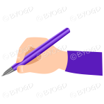 Hand writing with a shiny purple pen.